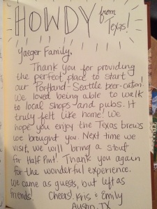Comment from Portland beer vacation rental guests from Airbnb who left as friends from Austin